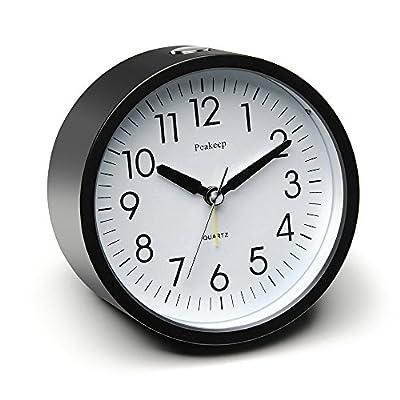 "Peakeep 4"" Round Silent Alarm Clock with Snooze and Nightlight, Gradually Louder Beep Sounds, AA Battery Operated -  - clocks, bedroom-decor, bedroom - 51lpKL66HWL. SS400  -"