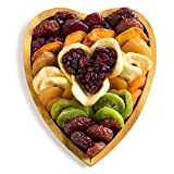 Gourmet Hamper Gift Tray, Dried Fruit Platter in a Reusable Heart-Shaped Wooden Tray, Great Gift Idea, By Benevelo Gifts