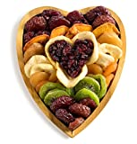 Gourmet Gift Tray,Dried Fruit Platter in a Reusable Heart-Shaped Wooden Tray, Great Gift Idea, By Benevelo Gifts