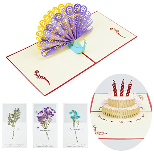 5 Pack Cards Greeting (CUXUS Happy Birthday Cards- Thank You Cards- 3D Pop Up Birthday Cards Set for Women and Men, Children and Adults- Unique Assorted Design Greeting Cards- 5 Pack)