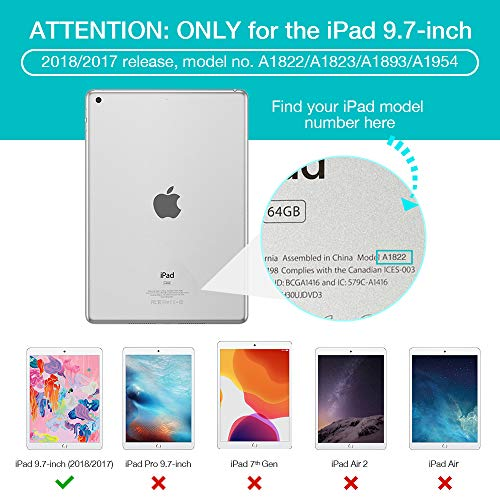 ESR Yippee Trifold Smart Case for iPad 9.7 2018/2017 [A1822, A1823,A1893,A1954](Not for iPad 10.2), Lightweight Cover with Auto Sleep/Wake, Hard Back Cover for iPad 5th/6th Gen ,Black