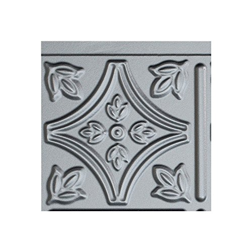 Floor Tile 9 Boxes Covers (Fasade Easy Installation Traditional 1 Argent Silver Backsplash Panel for Kitchen and Bathrooms (6