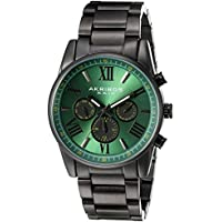 Akribos XXIV Men's Swiss Quartz Multi-Function Grey Accented Green Sunray Dial with Black Stainless Steel Bracelet Watch AK912GN