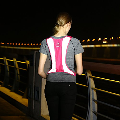 YODAKE Fashion Reflective Safety Vest Of Unique Design With Pocket For Running And Walking Etc. - Large Area Reflective, Lightweight & High Visibility Night Running Vests (Safety Vests Lights)