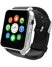 Smart Watch With Heart Rate Monitor and Smart Notifications,Round Touch Screen Bluetooth Smart Watches With SIM Card Slot and TF Card Slot Compatible With Apple iOS and Android Phones (Gun Black)
