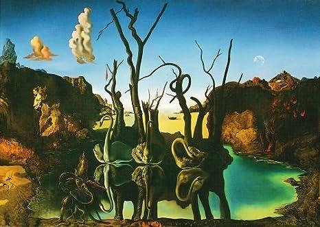 5 tarjeta de paquete: de Salvador Dalí Cisnes, los Elefantes reflejan