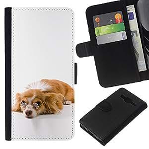 JackGot ( Divertente Glasses Cute Dog ) Samsung Galaxy Core Prime la tarjeta de Crédito Slots PU Funda de cuero Monedero caso cubierta de piel