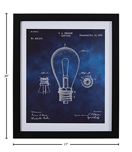 "51gg8suxxAL Blue and White Print of 1890 Bulb in Silver Frame, 17"" x 20"""