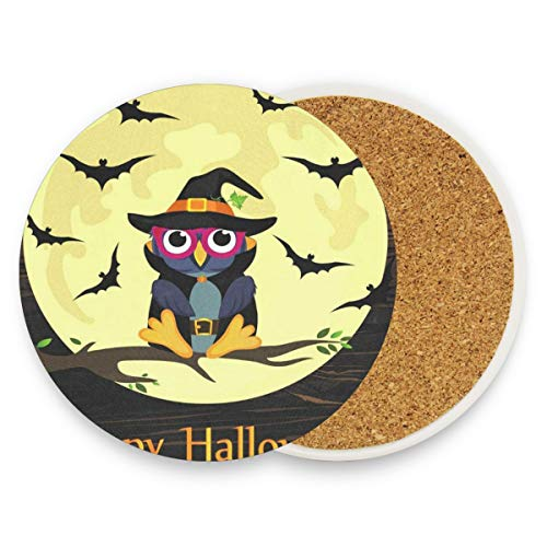 Coasters for Drinks,Halloween Owl In Witch Costume Ceramic Round Cork Trivet Heat Resistant Hot Pads Table Cup Mat Coaster-Set of 4 -