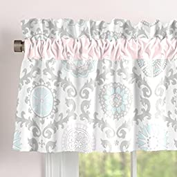 Carousel Designs Pink and Gray Rosa Window Valance Rod Pocket