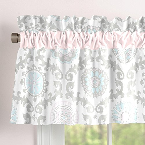 (Carousel Designs Pink and Gray Rosa Window Valance Rod Pocket )