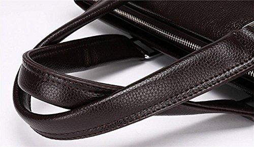 YANX los hombres de moda PU bolso de computadora bolso de cartera del ordenador portátil de 14 pulgadas (38 * 29 * 5,5 cm) , black Black