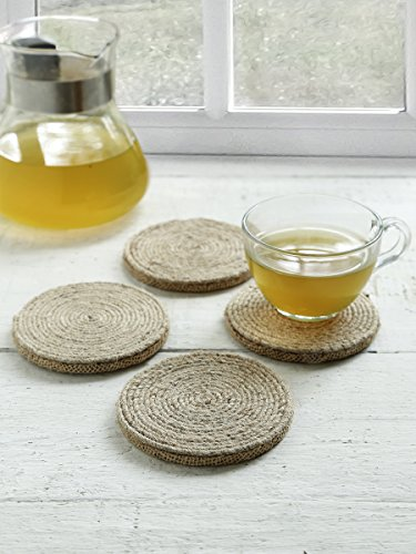 Store Indya, Jute Bar Drink Coasters Tea Coffee Mug Tabletop Barware Absorbent Set of 4 Wooden Hand Carved Round Shaped Dining Accessories Home Decor
