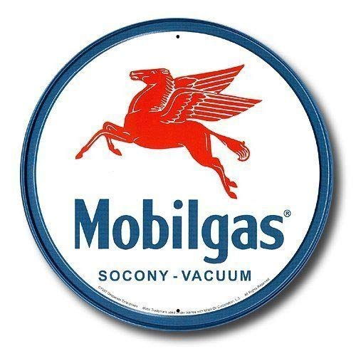ShopForAllYou vintage decor wall signs Mobilgas Pegasus Mobil Gas Gasoline Station Round Retro Vintage Metal Tin Sign