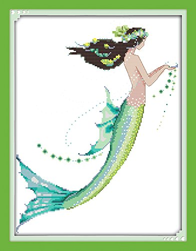 Cross stitch kits for Mermaid - Eafior DIY Handmade Needlework Embroidery Kits Mermaid pattern printed design Home Decoration Wall Decor 36x44cm(No frame) 14k Yellow Gold Scissors