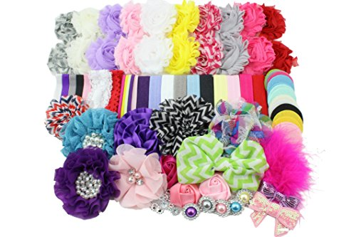 Parisian Costume Ideas (Baby Shower Headband Station Kit DIY - Make 32 Headbands and 5 Hair Bow Clips - Baby Girl Chevron Collection)