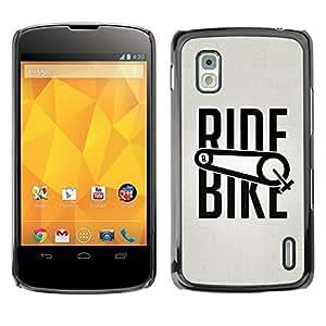 Cubierta de la caja de protección la piel dura para el LG GOOGLE NEXUS 4 / E960 - ride bike bicycle sport exercise cyclist