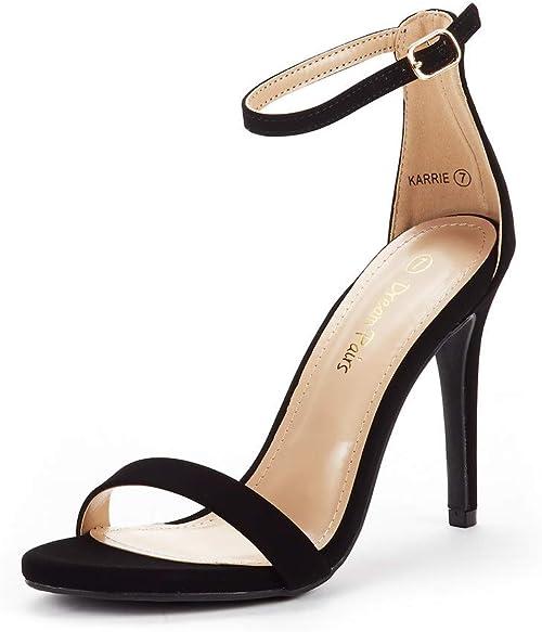 Sandalia negra Tacón alto Aguja