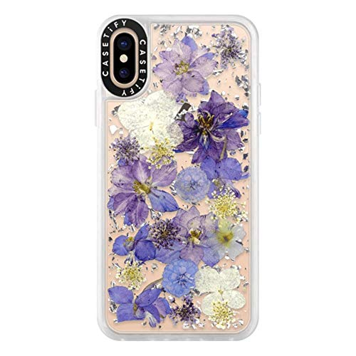 Casetify Real Flower iPhone Xs Case Pressed Dried Flowers with Silver Foil Flake in Hard Back Cover and Frost Shockproof Drop Proof Bumper and Wireless Charging Compatibility for Apple iPhone Xs