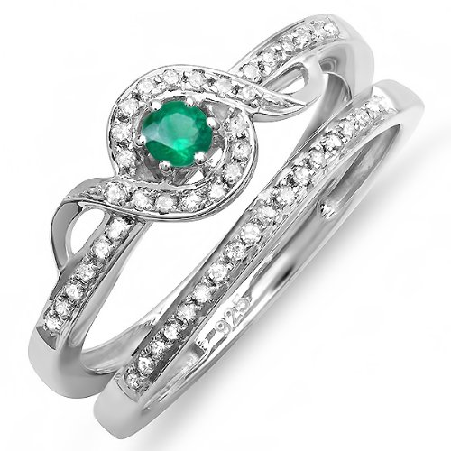 sterling-silver-round-white-diamond-and-emerald-bridal-promise-ring-set-matching-band-size-7