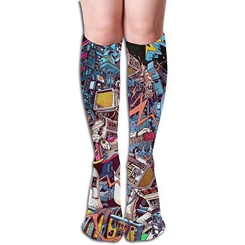 最大起訴する書誌ロボット 3D印刷デザイン 女性の男性 秋と春 フリースタイルのデザインソックス ファッションかわいい 弾性 薄型 靴下 高校生 ティーンエージャー フォーシーズンズ