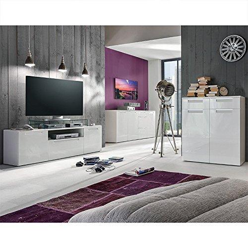 Sideboard U0026 Kommoden Set Hochglanz Weiß TV Lowboard Kommode Wohnzimmer  Schränke Jetzt Kaufen