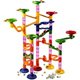 AMOSTING Marble Runs Toy Set, Race Track Railway Maze Toys Construction Child Building Blocks Toys with Glass Marbles,105 Pieces Ball Race Game