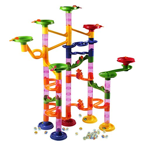 Marble Runs Toy Set,AMOSTING Marble Run Railway Maze Toys Construction Child Building Blocks Toys with Glass Marbles,105 Pieces Ball Race Game (Plastic Marbles For Games)
