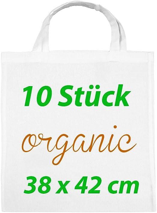 Organic Bolsa de tela Funda de algodón yute Bolsa 2 Corto Asa (10 ...