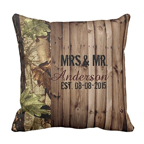 UOOPOO Personalized Rustic Barn Wood Western Country Camo Wedding Throw Pillow Case Square 16 x 16 Inches Cotton Canvas Customized Wedding Pillow Cover for Sofa