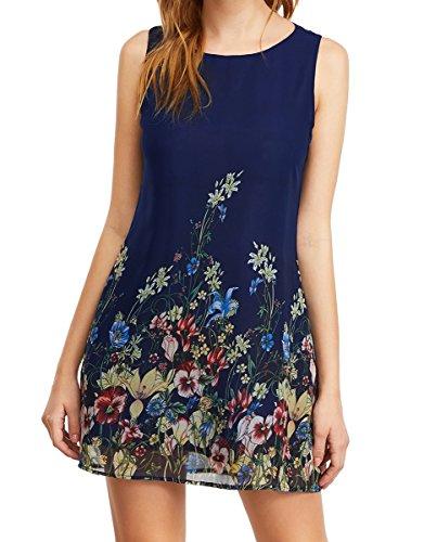 Romwe Women's Casual Summer Floral Sundress Sleeveless Loose Tank Dress Navy L
