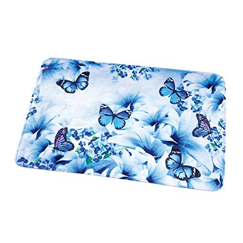 Garden Rug Blue - Blue Butterfly Garden Soft Cushion Bath Rug with Non-Slip Backing