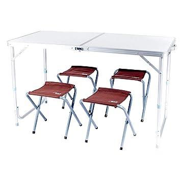 YUWEN Mesa Plegable en el Centro de la Mesa con 4 sillas ...