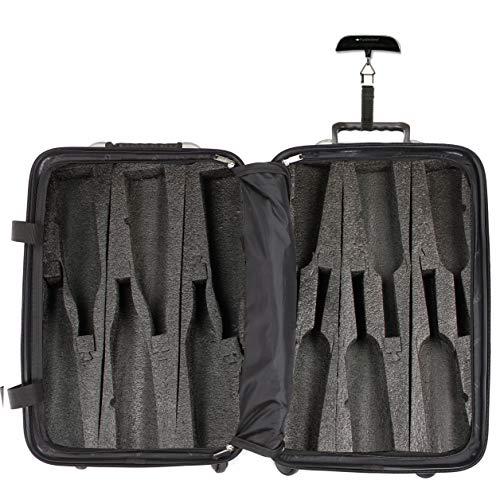 Bundle - 2 items: VinGardeValise 12 Bottle Wine Travel Suitcase, FlyWithWine Digital Luggage Scale - Burgundy