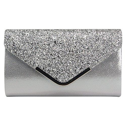 Wocharm New Fashion Bling Sequins Women Clutch Evening Envelope Handbag Shoulder Silver