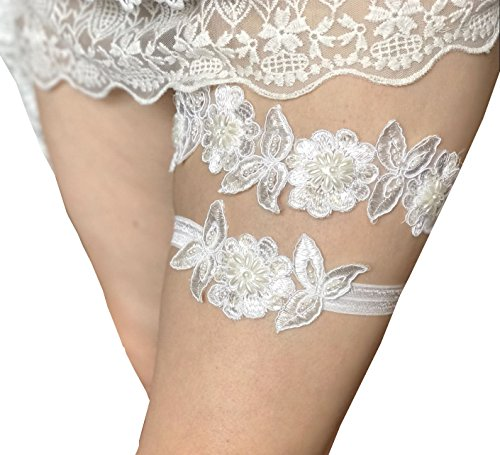 Lemandy Lace bridal garters set with pearls and sequins wedding garters band P14