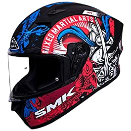 SMK Helmets – Stellar – Samurai – Black Blue Red – Pinlock Anti Fog Lens Fitted Single Clear Visor Full Face Helmet…