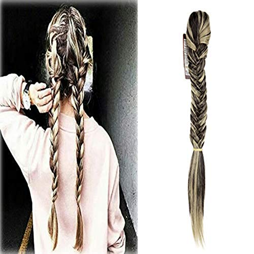 Hair Long Straight Ponytail Clip in Braided Ponytail Fishtail Plaited Synthetic Hair Extensions Hairpiece (Braided Pony)