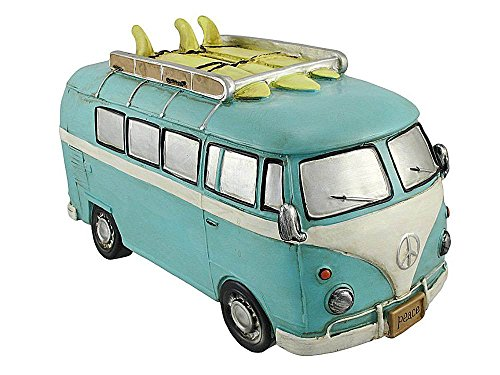 Gift Craft Blue Retro Surfer Van With Peace Signs Coin Bank by Gift Craft