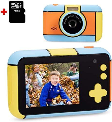 キッズカメラ、2.4インチの大画面のコンパクト1080pのHDビデオカメラキッズ、3-9歳の子供のための誕生日祭のギフトカメラ、16ギガバイトのSDカードでベストのおもちゃ