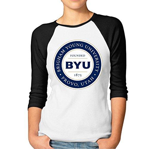 RERR Women's Brigham Young University BYU Raglan Baseball T Shirt Black Size XL