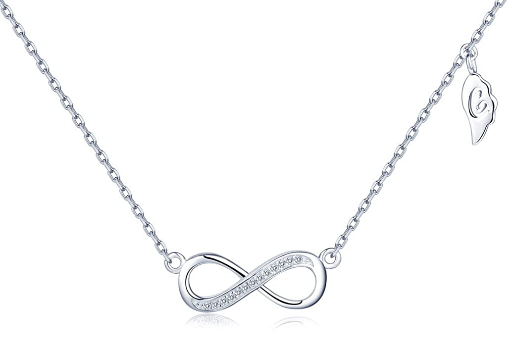 Color de Plateado Collar de Plata Fina 925 Cadena Ajustable con Colgante S/ímbolo de Infinito y Circonitas Infinito U