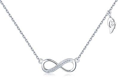1e67af135c39 Infinito U - Collar de Plata Fina 925 Cadena Ajustable con Colgante Símbolo  de Infinito y Circonitas