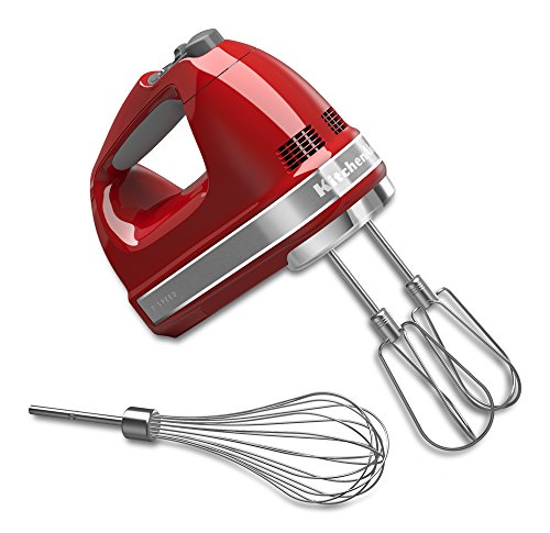 KitchenAid KHM7210ER 7-Speed Digital Hand Mixer with Turbo Beater II Accessories and Pro Whisk - Empire Red (Best Electric Egg Beater)
