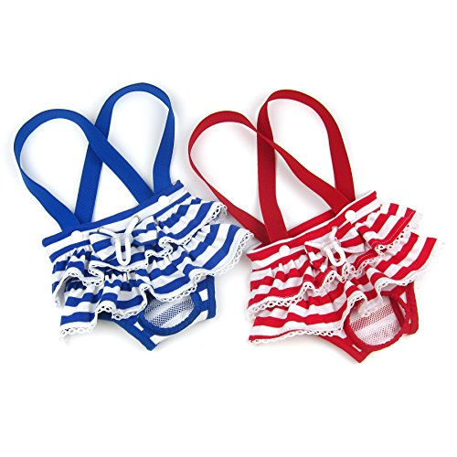 Alfie Pet - Charlotte Diaper Dog Sanitary Pantie with Suspender 2-Piece Set for Girl Dogs - Color: Blue Red, Size: Medium ()