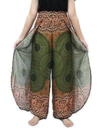 Wide Leg Pants Non Elastic Ankle Print Design Pants Comfortable Wear On The Beach.