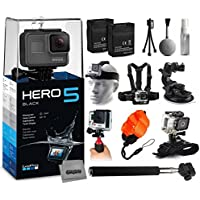 GoPro HERO5 Black Edition CHDHX-501 with 2 Batteries + Selfie Stick + Head Strap + Chest Strap + Car Dash Mount + Wrist Strap + Opteka HG1 + Floating Strap + Cleaning Kit