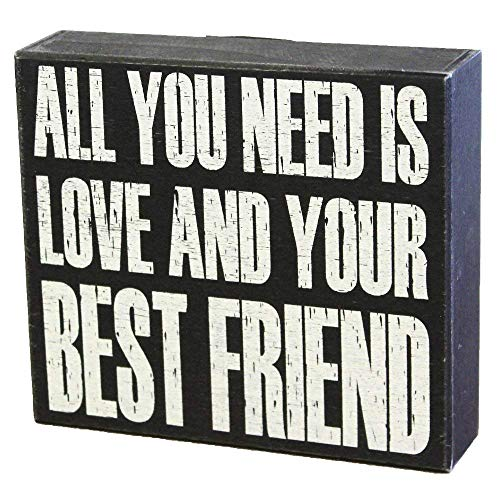 (JennyGems Wooden Box Sign - All You Need is Love and Your Best Friend, Friendship Sign - Gift for Best Friends, Bestfriends)