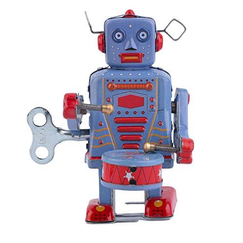 [robot decorations Vintage Metal Tin Drumming Robot Clockwork Wind Up Tin Toy Collectible robot] (Roomba Costume Pattern)