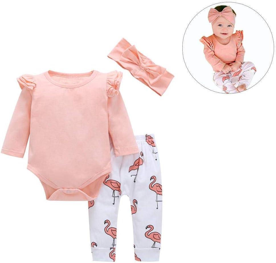 Conjunto de 3 piezas de trajes de bebé rosa con volantes de algodón para bebé, camisetas de manga larga, pantalones de flamenco y diadema para bebé, niños, regalo de cumpleaños rosa rosa Talla:70